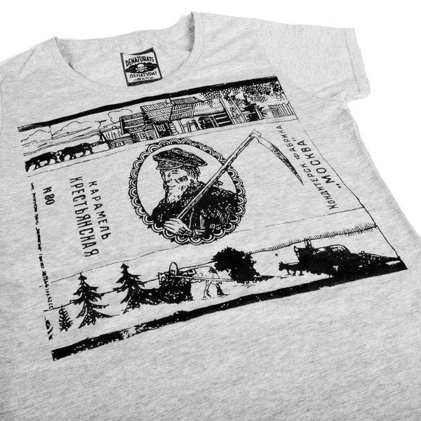 Серая футболка от Миши Бастера с «карамельным» дизайном: принт «Крестьянская»