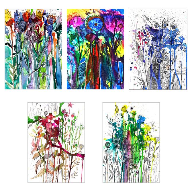 Набор открыток «Цветы» от Аси Масловой
